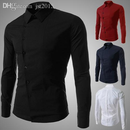 Wholesale-Chemise Homme Design Oblique Breasted Mens 긴 소매 드레스 셔츠 캐주얼 세련된 Camisa Masculina