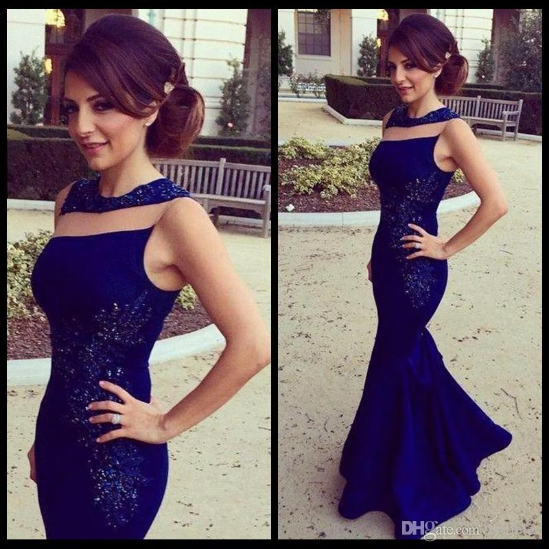 Modern Jewel Sleeveless Mermaid Prom Dress With Beaded Elegant Royal Blue Satin Evening Dresses For Prom Party Gowns 2020