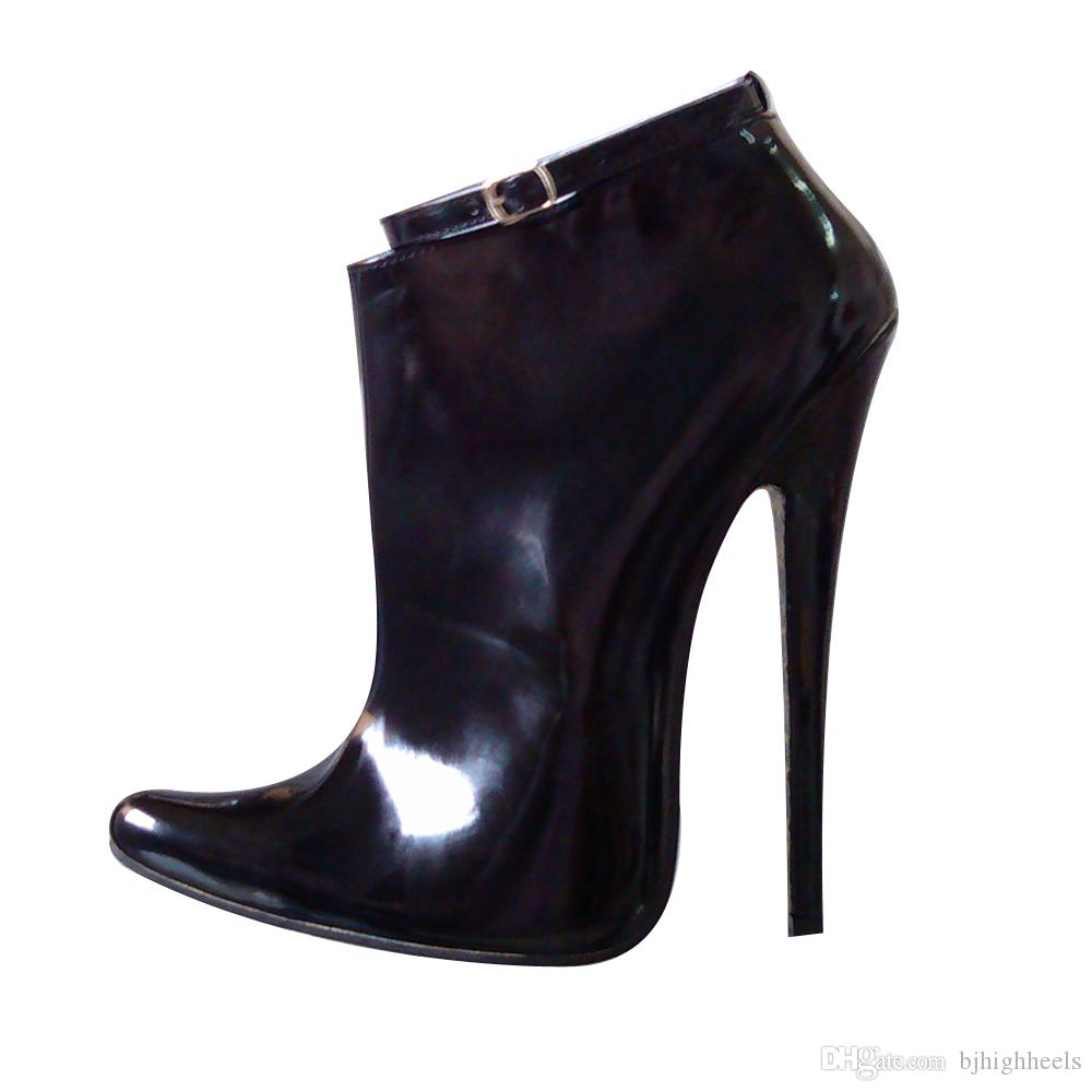 18CM High Height Sex boots Women Heels Pointed Top Stiletto Heel Ankle Boots No.1810