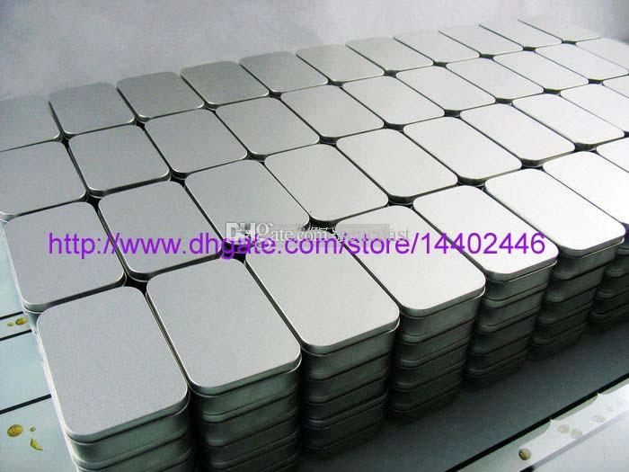 50pcs 깡통 컨테이너 저장소 상자 구슬에 대 한 금속 직사각형 명함 캔디 허브 사례 9.4 cm x 5.9 cm x 2.1 cm 슬라이 버