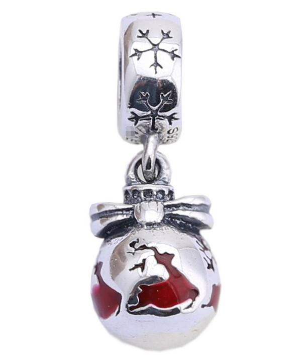 100% Sterling Silver Charms 925 Ale Enameled Moose Bow Dangled Charms for Pandora Bracelets DIY Beads Christmas Accessories