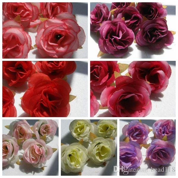 Caliente ! 100 Unids Flores Artificiales 7 Rosas de Color Cabeza de La Flor Decoración de La Boda Flores 6 cm