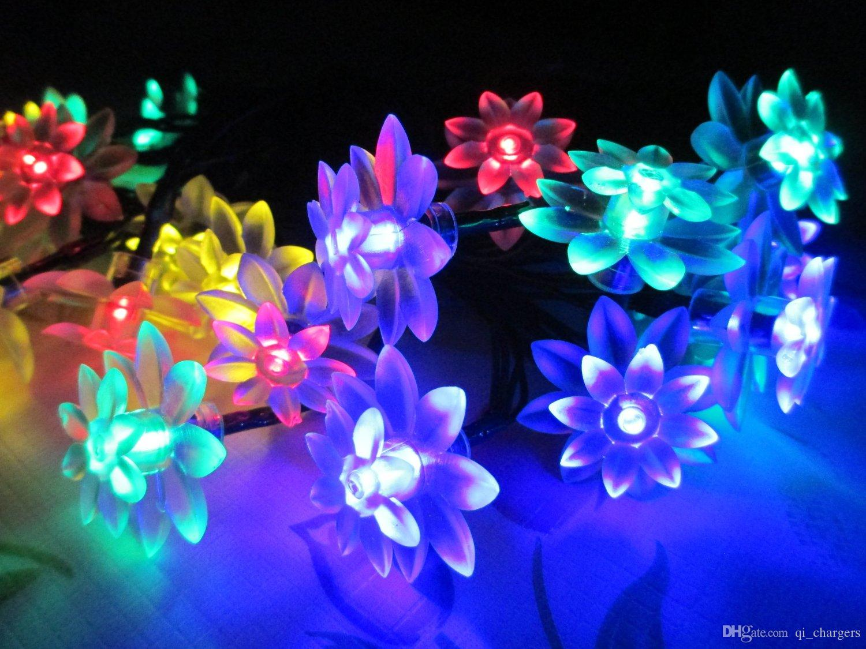 Flower string lights - Sun Power Solar Energy Floating Lotus Flower Led Light For Pool Pond Garden Night Light
