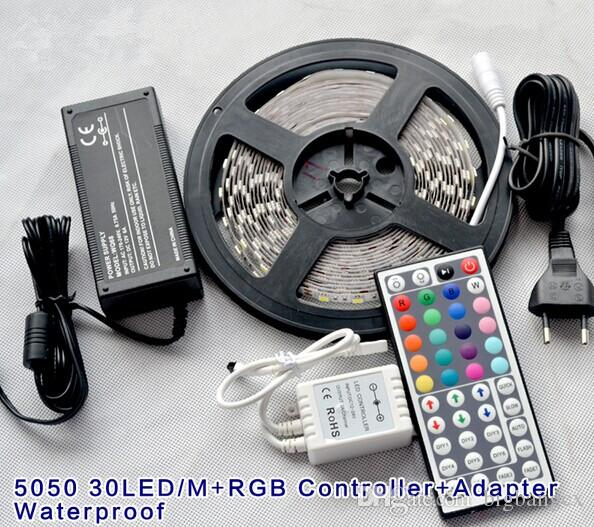 30 leds/m 150leds 5M Waterproof IP65 RGB Changing SMD5050 LED Strip Light with 24/44 key remote and 5A power for Party