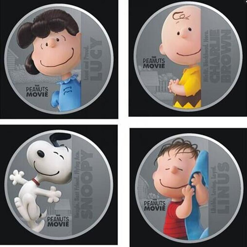 A Set of 4pcs Snoopy Peanuts Movie Comics Cartoon Silver Coins Collectibles