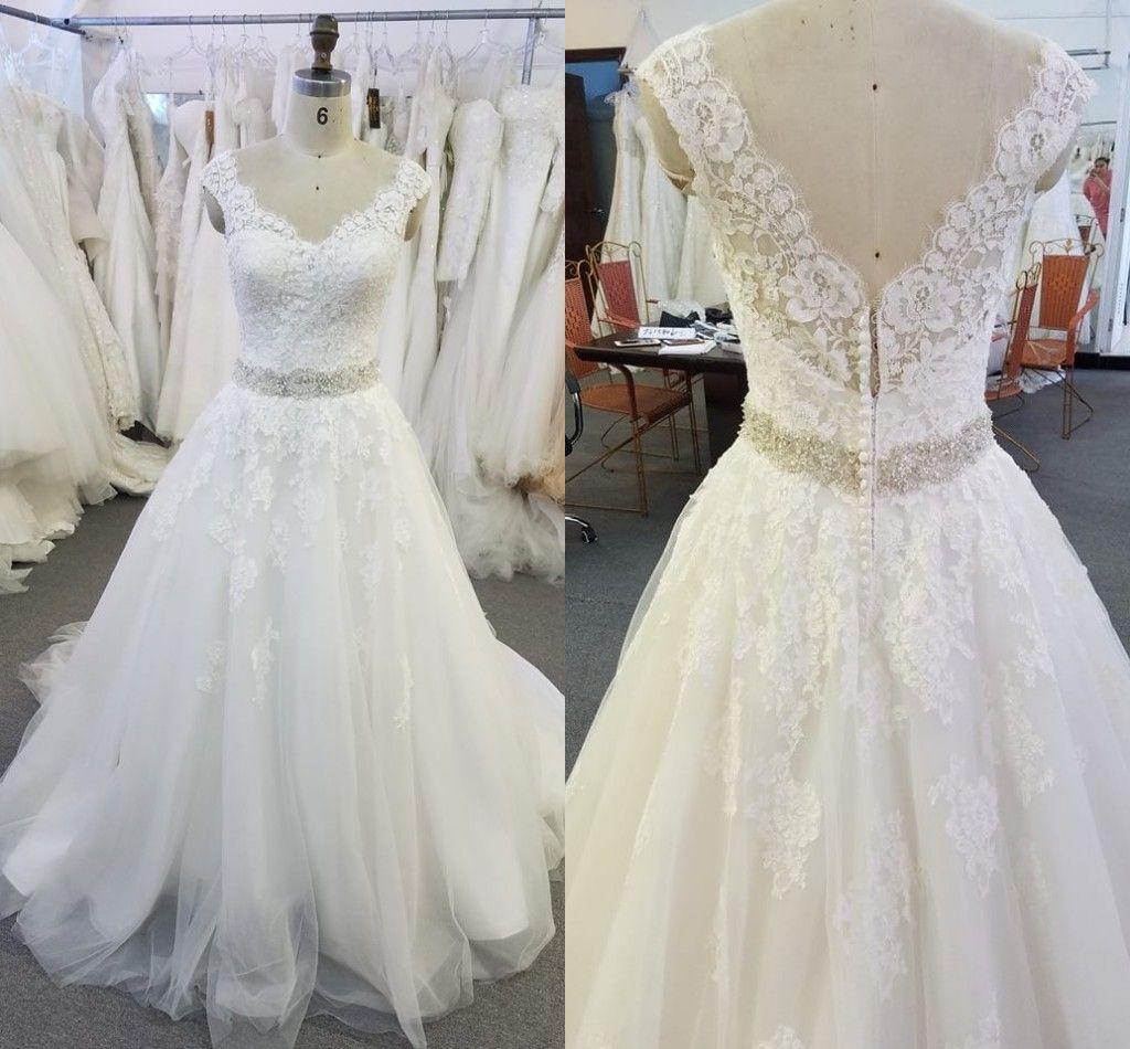 Real Image Lace Wedding Dresses 2018 V Neck Cap Sleeves Crystal Sash Tulle Backless Wedding Dress Vintage Bridal Dresses Aline Wedding Gown