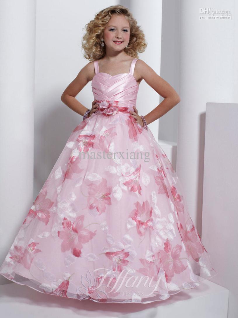 Flower Girls Dresses Spaghetti Strap Ball Gown Flower Pattern Light ...
