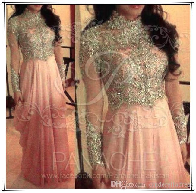 Aline Yüksek Yaka Muslin Arbria Balo Abiye 2015 Uzun Kollu Moda Artı Boyutu Gelin Pageant Boncuklu Ünlü ElbiseleriPTY857