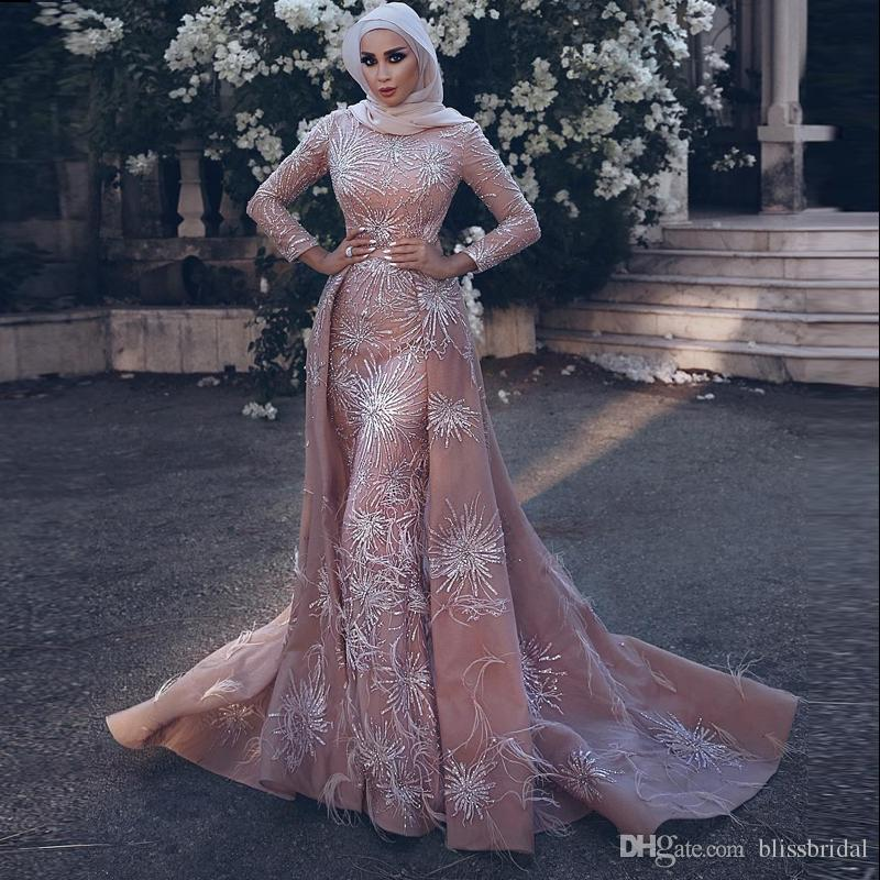 Middle East 2018 Long Sleeve Mermaid Prom Dresses 3D-Applique Overskirts Berta Bridal Gowns Luxury Muslim Dress Detachable