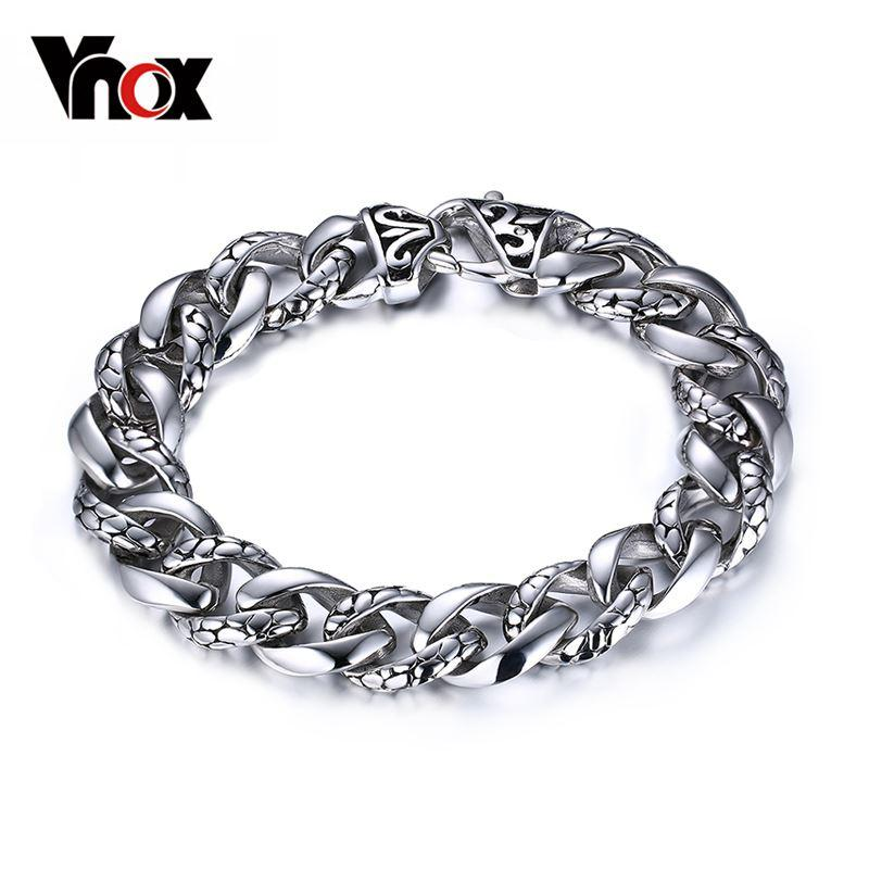 Hot sale stianless steel men bracelets for men jewelry14mm wide men bracelets&bangles hand chain simulate crack pattern Christmas party gift