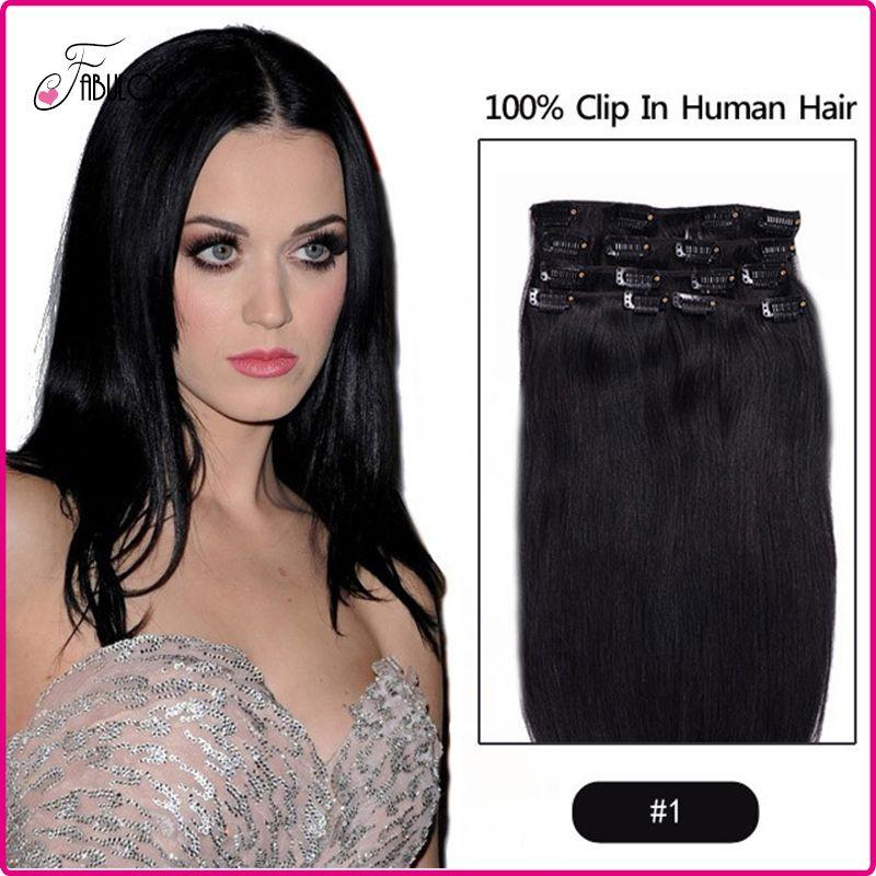 Clip poco costosa in capelli umani di Remy di estensione dei capelli umani di Remy 15-24inch 70g colore # 1 Capelli di trama di Freeshipping