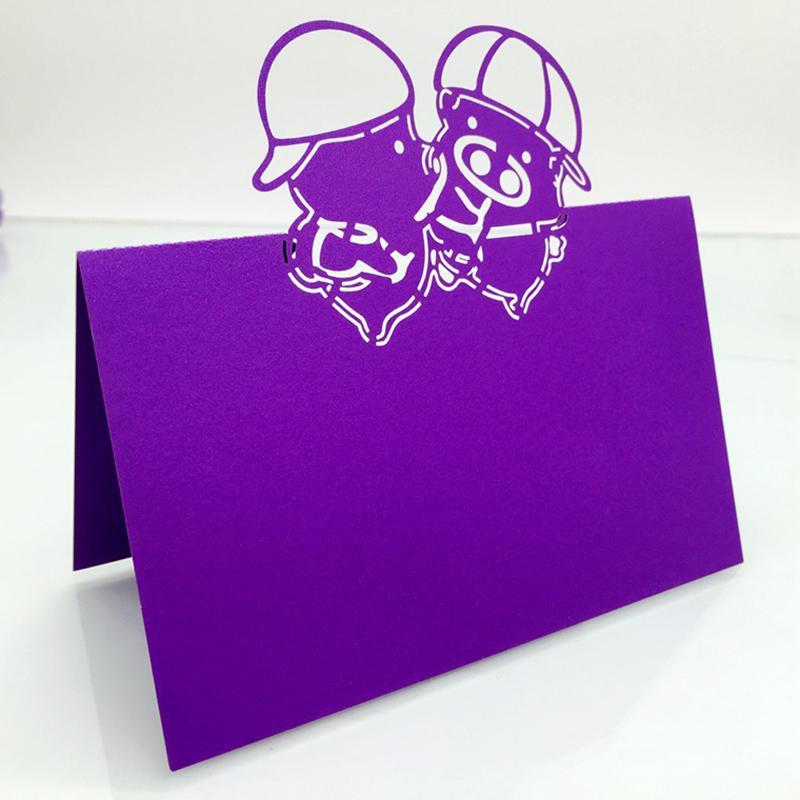 50X FreeShipping Nueva invitación de la boda decoraciones del partido corte por láser lugar asiento tarjeta de nombre Lovely cartón decoración de mesa de papel McDull