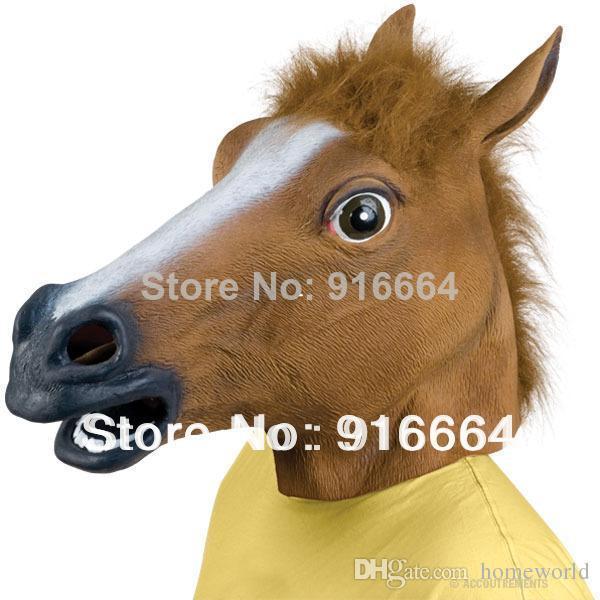 شحن سريع مجاني زاحف الحصان قناع رئيس هالوين زي مسرح الدعامة الجدة المطاط اللاتكس