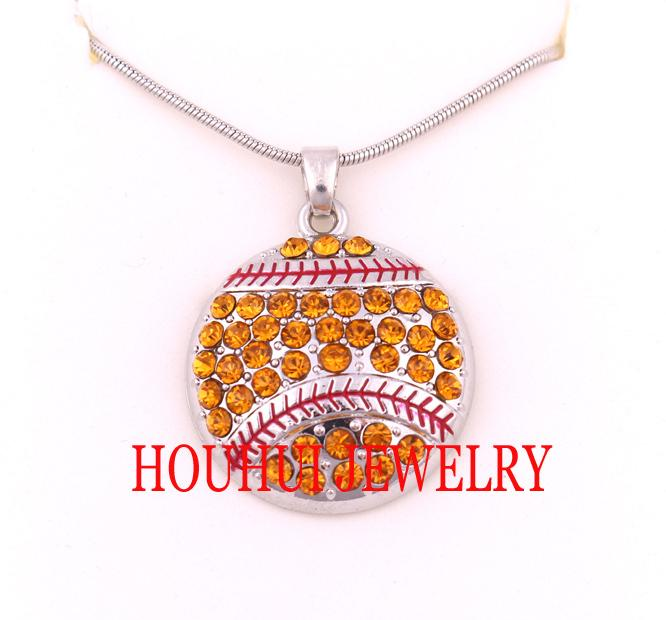 Latest style Free shipping 30pcs a lot rhodium plated Softball Crystal Pendant sports chain necklace(A500124)