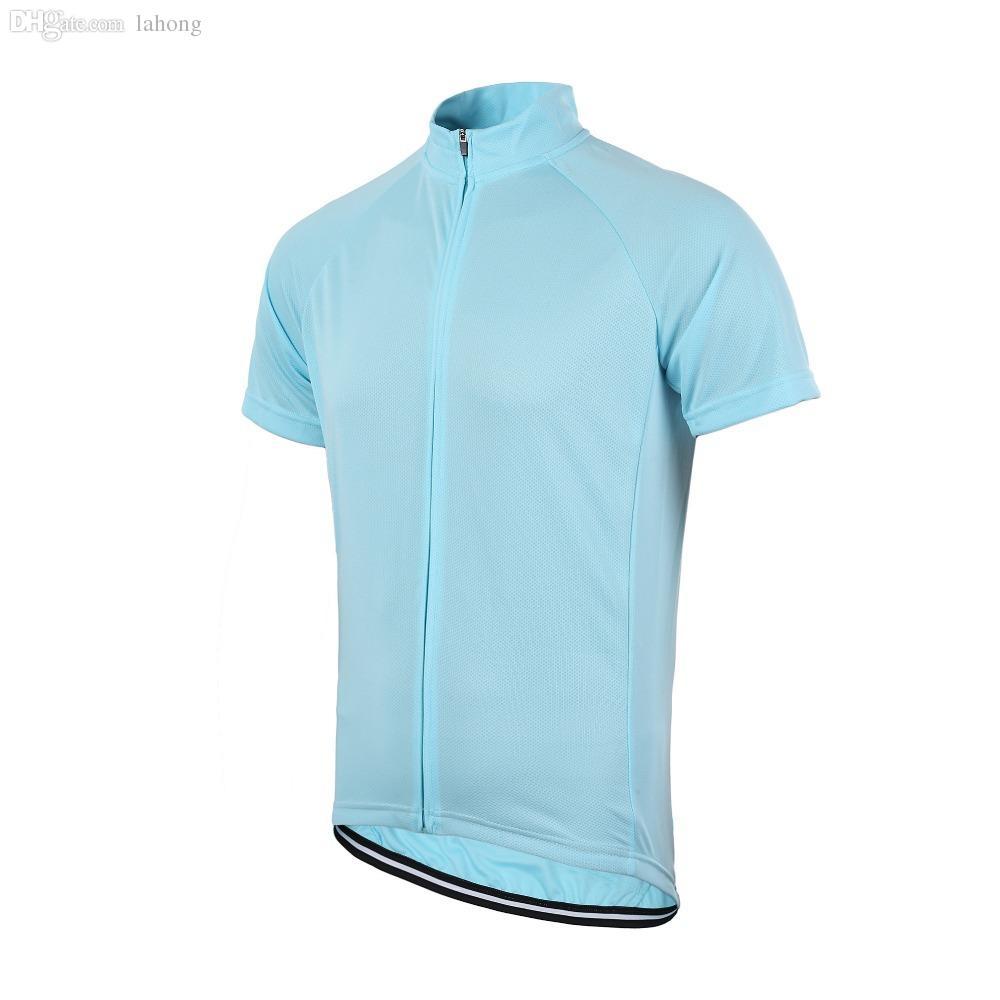 순수 색상 도매 무료 배송 남성 여성 솔리드 사이클링 짧은 소매 유니폼 전체 길이 지퍼 유니섹스 자전거 저지