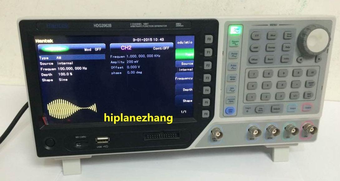 """2CH 60MHz 250MSa / s DDS 기능 신호 임의 파형 발생기 64M 메모리 깊이 USB 7 """"TFT LCD 800x480 HDG2062B"""