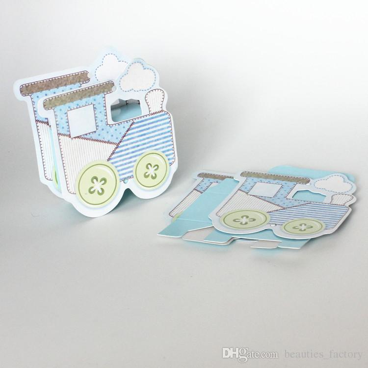72pcs Blue Locomotive Candy Boxes Railway Egine Cute Baby Shower Gift Box Wedding Favours Party New