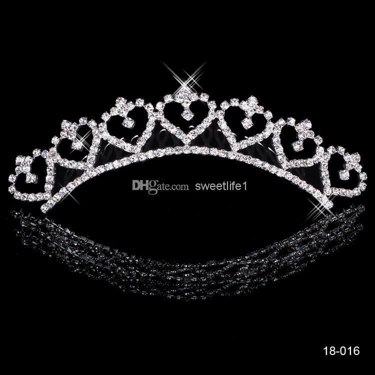 Barato Aleación Popular Brillante Corona Boda Novia Tiaras Coronas de moda para la novia En stock 18016