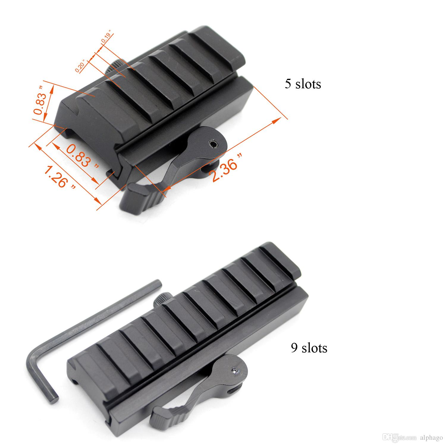 20 mm Picatinny/Weaver Rail Baese 5 / 9 slots QD Quick Release Riser Scope Mount Adapter Free Shipping