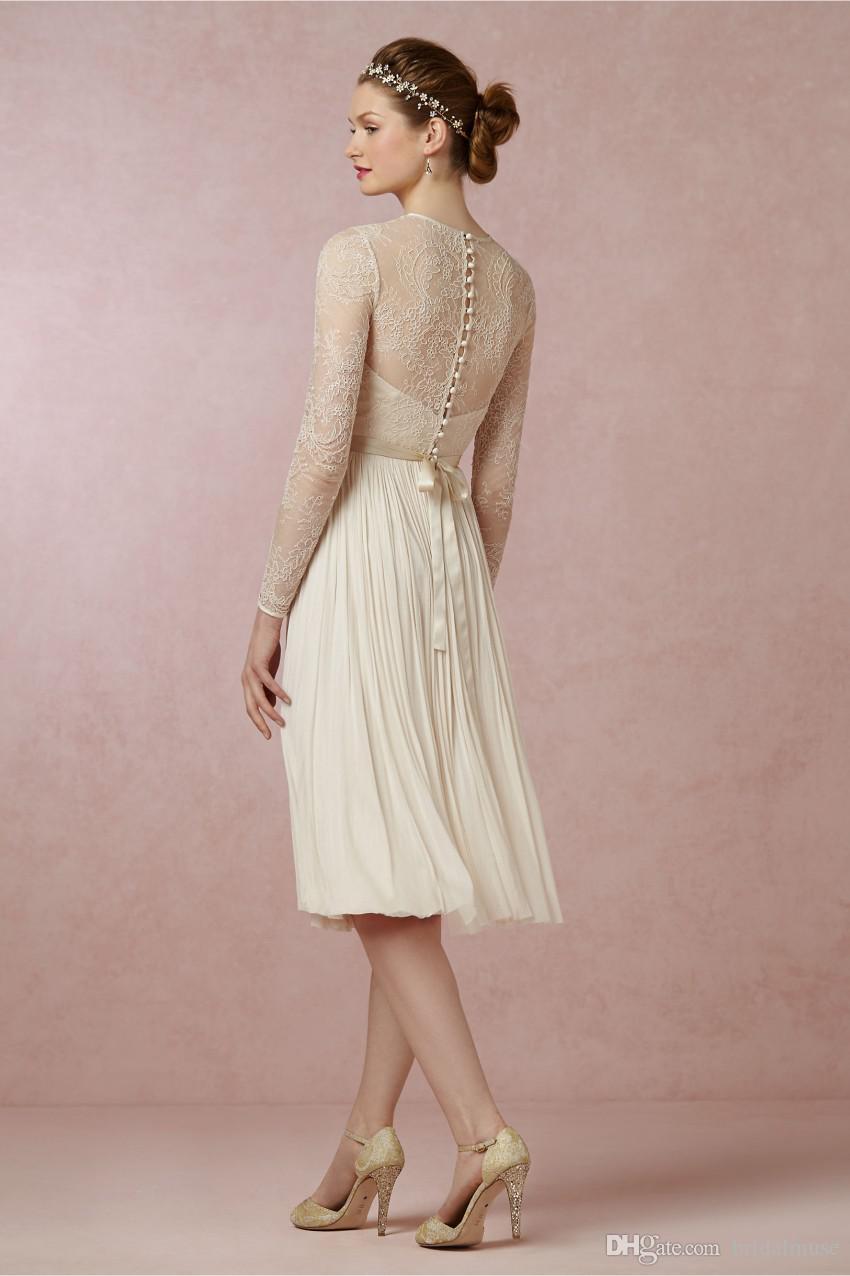 Discount Short Beach Knee Length Wedding Dresses Lace Vintage 2017 ...