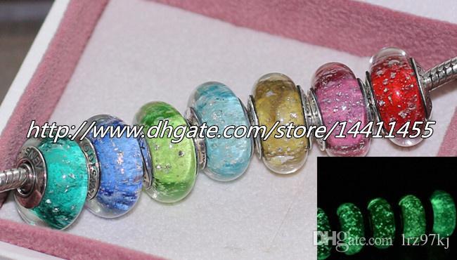 7pcs S925 Sterling Silver firma colore fluorescenza perle di vetro di Murano misura europeo Pandora fascino bracciali collane