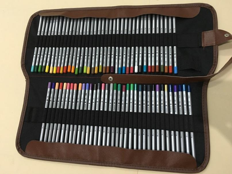 Marco 72 colors Color Pencils with Roller Pencil Case set Non-toxic Lead-free Painting Pencils+Roll Pouch package set