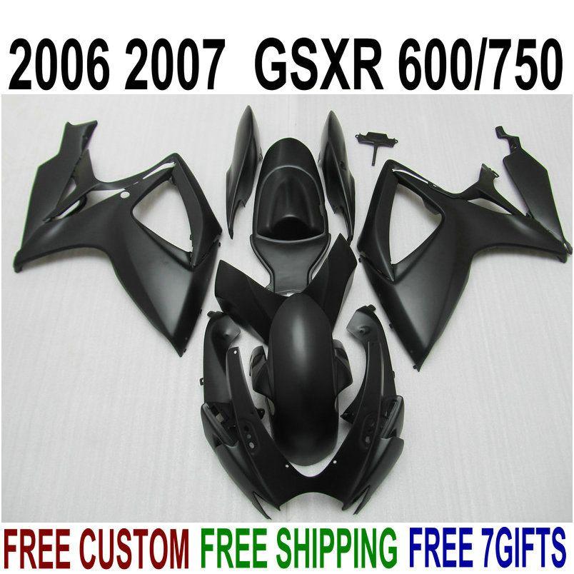 7 free gifts fairing kit for SUZUKI GSXR600 GSXR750 06 07 K6 all matte black fairings set GSX-R 600 750 2006 2007 V47F