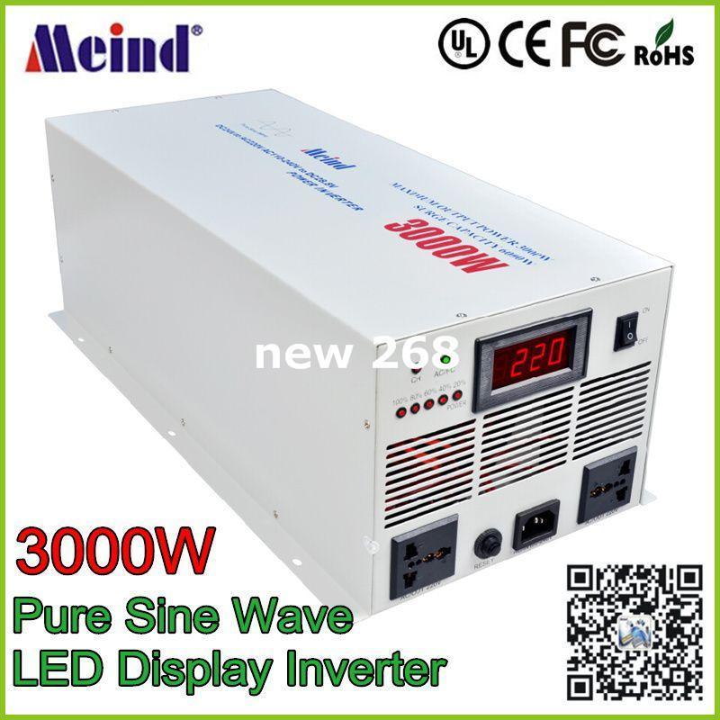 피크 6000W 태양 인버터 충전기 배터리 3000W 순수 사인파 자동차 전원 인버터 DC 24V to AC 220V 자동 전원 변환기