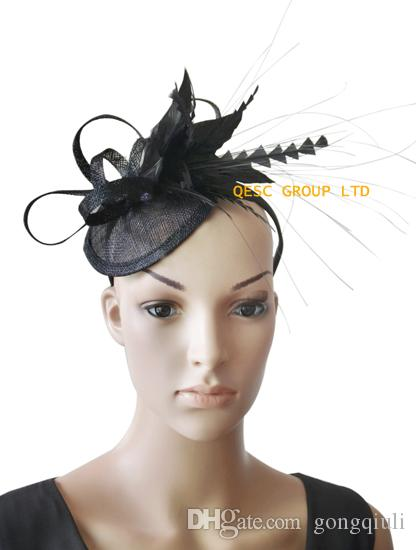 Fascino nero sinamay Fascinator Feather per Races, Wedding, kentucky derby.