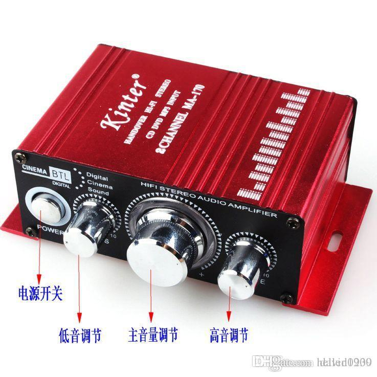 NEW MA-170 Mini Aluminum Alloy 2-Channel 100W Hi-Fi Stereo Home / Car Amplifier - Red (DC 12V) Handover Hi-Fi Stereo CD DVD MP3 Input