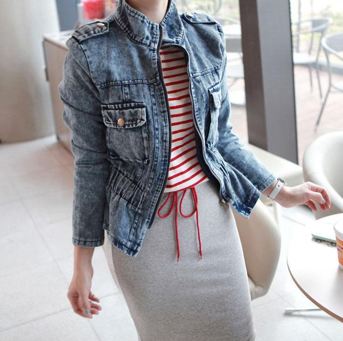 All'ingrosso-2017 Nuove donne vintage Slim Denim Jean bavero giacca con zip cappotto Biker Top Taglia S M L