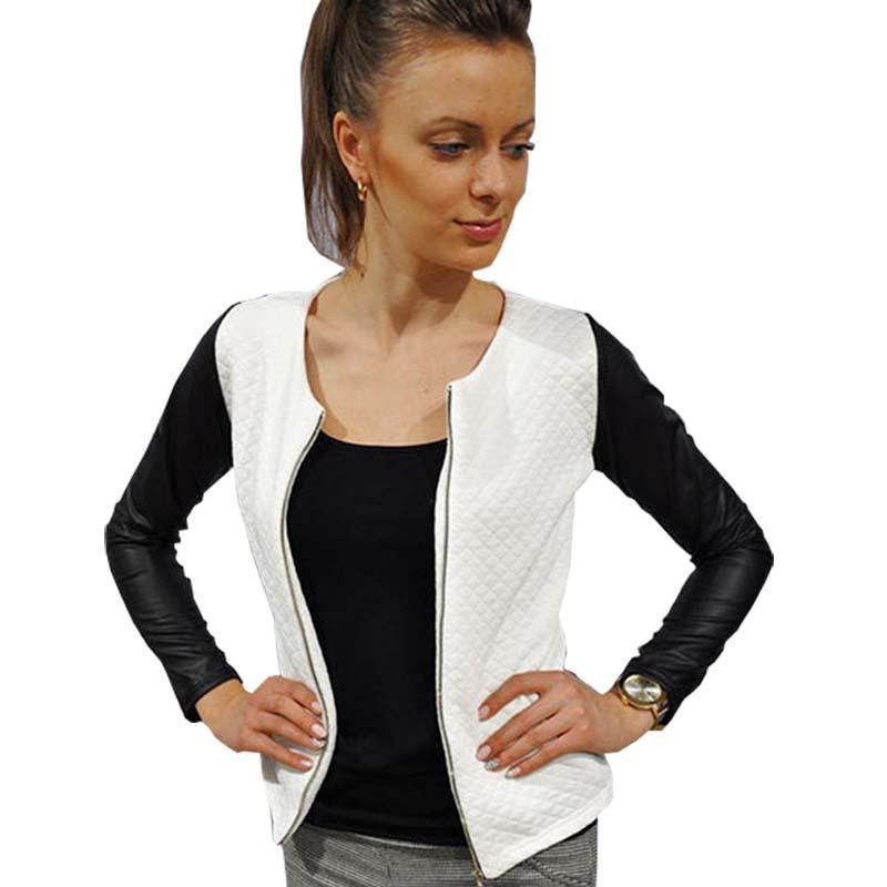 Giacca donna autunno inverno giacca moda slim bianco e nero PU patchwork giacche corte GZ291