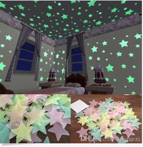 kleine zimmerrenovierung kinderzimmer bunt dekor, großhandel 100 wand glow in the dark sterne aufkleber kinder, Innenarchitektur