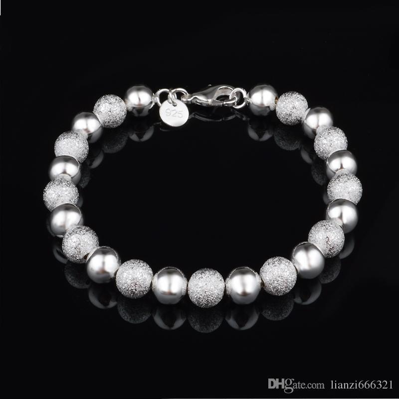 LIVRAISON GRATUITE avec numéro de suivi Top Sale 925 Bracelet en argent Sable entre bracelet de perle de lumière flash Bracelet en argent bijoux 20pcs / lot pas cher 1585