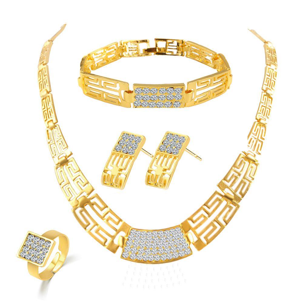 Conjunto de joyas de dama de honor Collar vintage Pulsera Pendientes Anillos como indio africano Dubai Conjuntos de joyas de oro de 18 k Conjuntos de joyas para fiestas de boda
