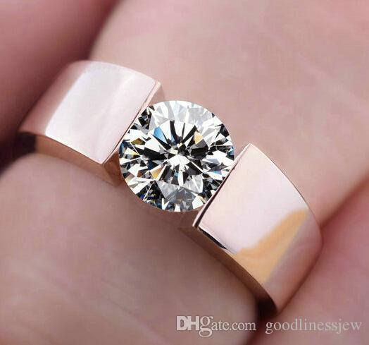 Rose Gold Plated CZ White /& Blue Diamond Alloy Ring For Engagement
