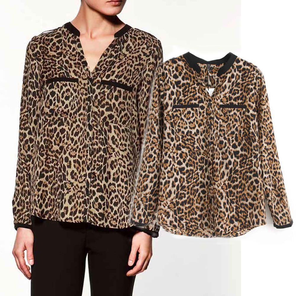 المرأة ليوبارد بلوزة أزياء السيدات مثير قميص طباعة ليوبارد نمط قميص المرأة blusas femininas قمصان camisas عارضة