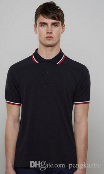 Hommes solides Feuille de broderie Homme Polos Londres Brit Polos Mode classique T-shirts Casual Shirt Blanc Noir S-XXL
