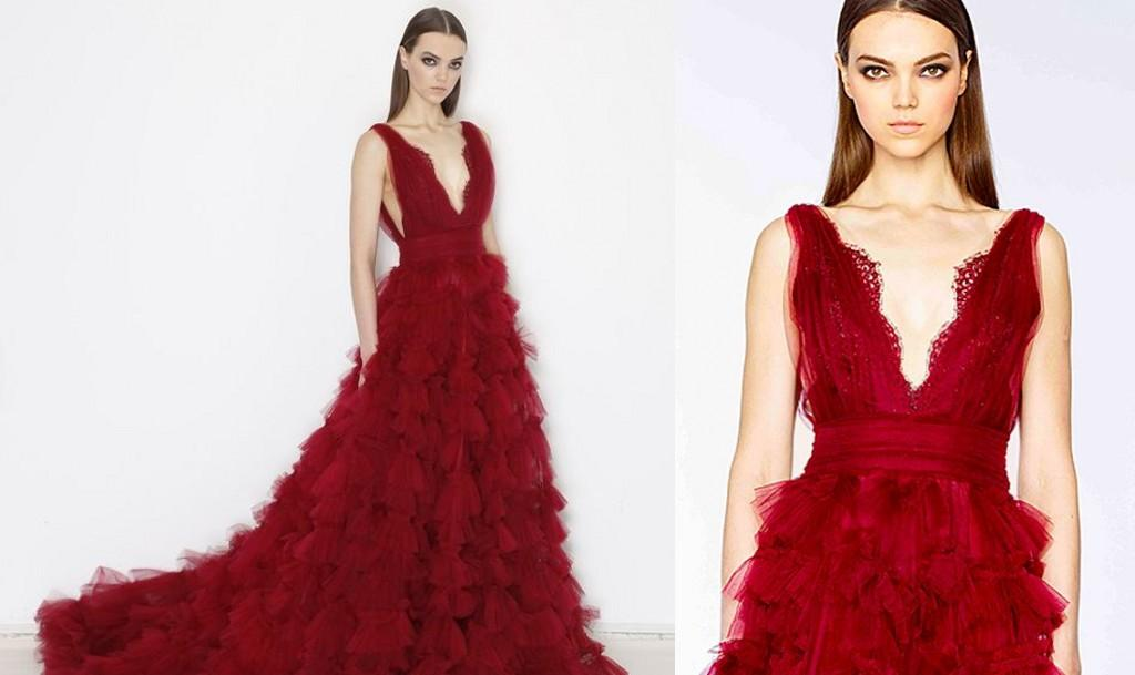 Burgundy Tiered Sweep Train Skirt Marchesa Dresses Evening Wear 2019 Sexy V-neck Backless Dubai Arabic Special Occasion Prom Dresses