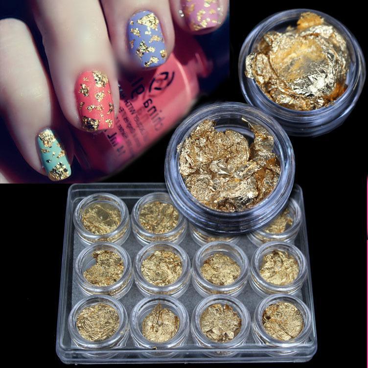 2015 New Supernova Sale DIY 3D Nail Art Decorations Gold Foil For UV Gel &Acrylic Nail Decoration 12pcs/Set