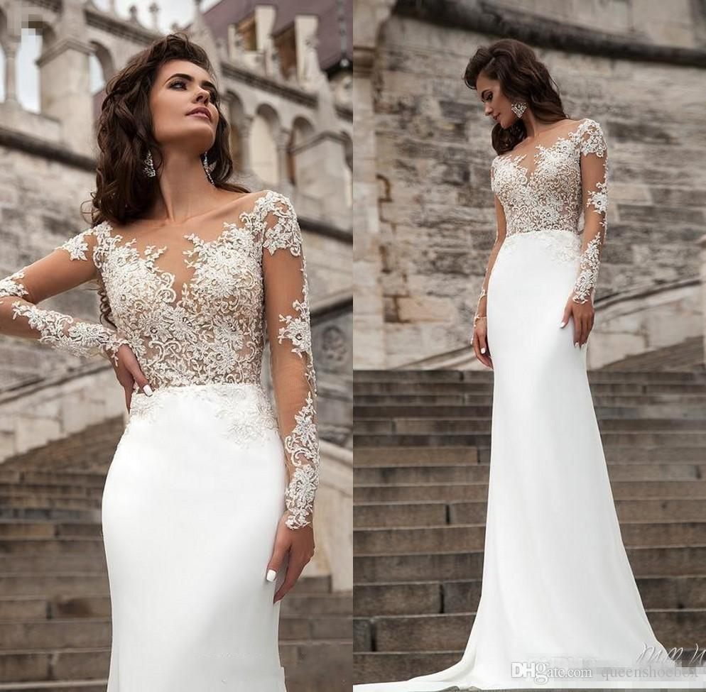 Sexy Sheer Long Sleeves Lace Wedding Dresses 2018 Milla Nova Beach A Line Sweep Train Button Back Bohemian Wedding Dress Bridal Gowns Silk Mermaid