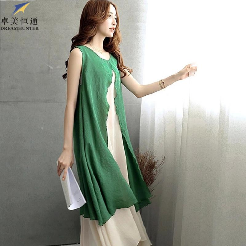 new high quality look out for discount collection Plus Size Womens Cotton Linen Summer Dress 2015 O Neck Sleeveless Fake  Patchwork Casual Loose Long Maxi Tank Dress Green NO28 Womens Floral  Dresses ...