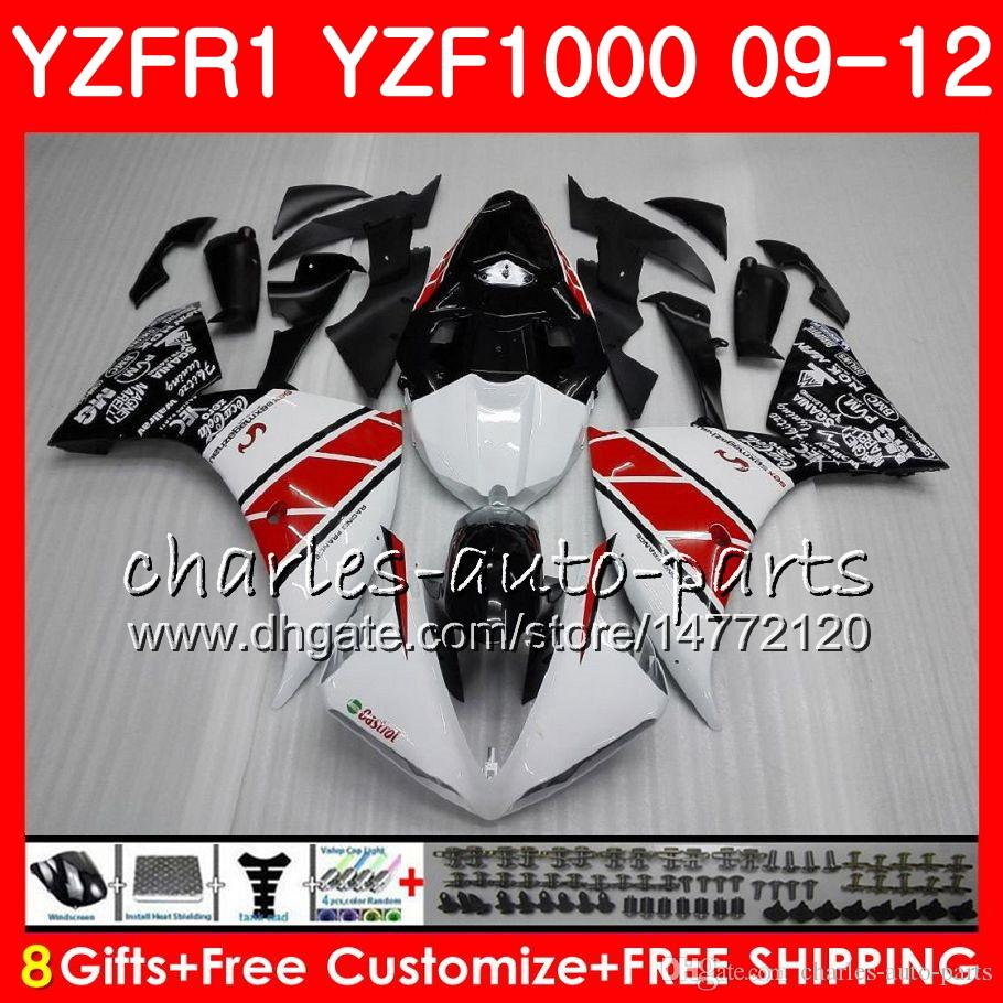 Carrosserie voor Yamaha YZF 1000 R 1 YZF-1000 YZF-R1 09 12 White Black Body 85HM3 YZF1000 YZFR1 09 10 11 12 YZF R1 2009 2010 2011 2012 Kuip
