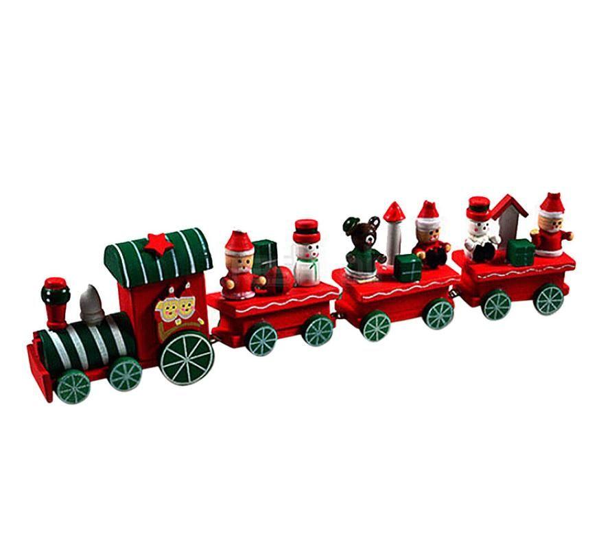 New Arrive 4 Pieces Wood Christmas Xmas Train Decoration Decor Gift Indoor Christmas Decoration Rosonse