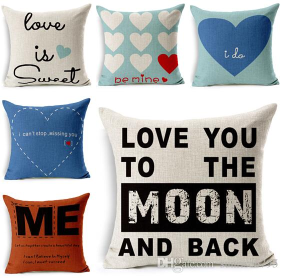 sweet love cushion cover letters almofada heart sofa car chair couch throw pillow case cotton linen cojines