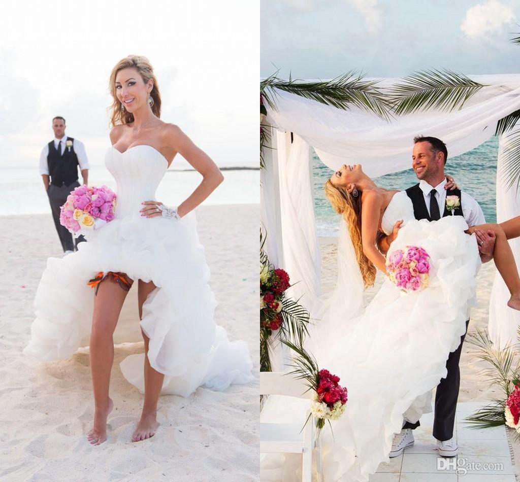 Nouvel White Sweetheart Short Beach Robes de mariée avec de magnifiques pick-ups Figure Flatteur Corset Bubble Romantic Beach Robes de mariée 2015