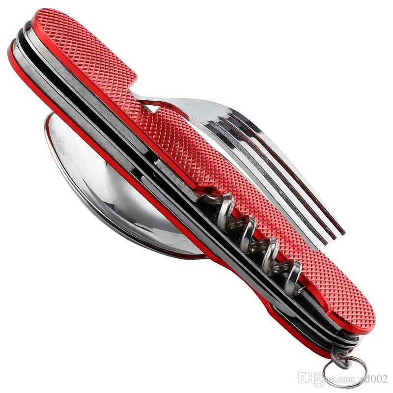 Easy To Geschirr Multi-Funktions-Edelstahl-Geschirr mit Anti-Rutsch-Stiel-Essgeschirr Top-Qualität 5 2HX B Carry