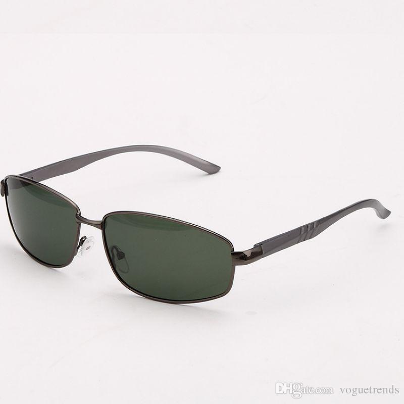 información para 898af 32b4a Compre Gafas De Sol Polarizadas Baratos Para Hombres Marco De Metal Estilo  Rectangular Gafas Polarizadas Verdes Gafas Para Hombre Gafas De Sol Online  ...