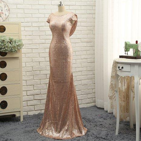 Sparkly ouro rosa lantejoulas Backless sereia Vestidos dama de honra 2020 de manga curta para vestidos de festa casamento de praia