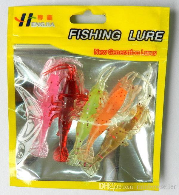 NEW luminous Simulation Squid Fishing Lure Bionic plastic Soft Shrimp Prawn baits for fershwater fishing 5pc/lot